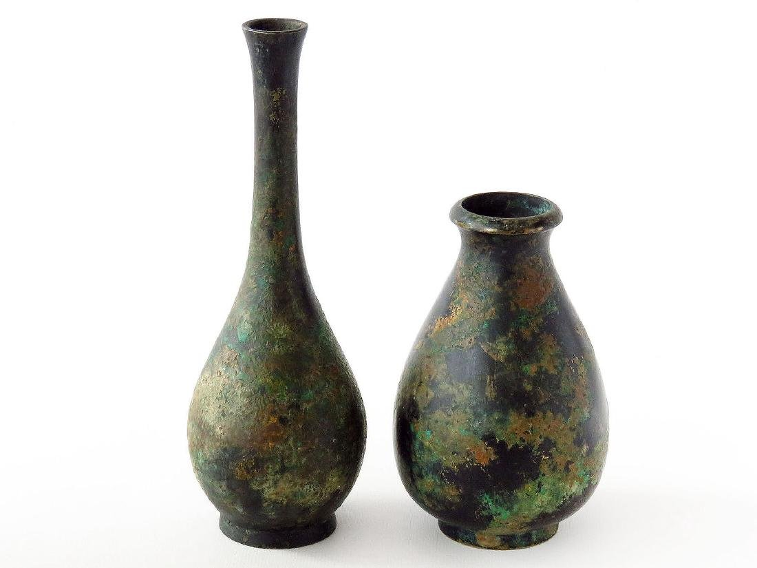 LOT (2) JAPANESE PATINATED BRONZE VASES 19/20TH C.