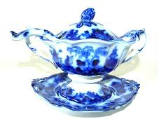 ORIENTAL STONE FLOW BLUE COVERED SAUCE TUREEN