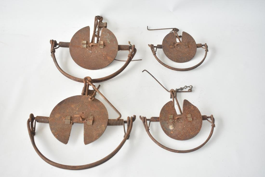 (4) EARLY SPRING LOADED BIRD TRAPS, C. 1890/1910
