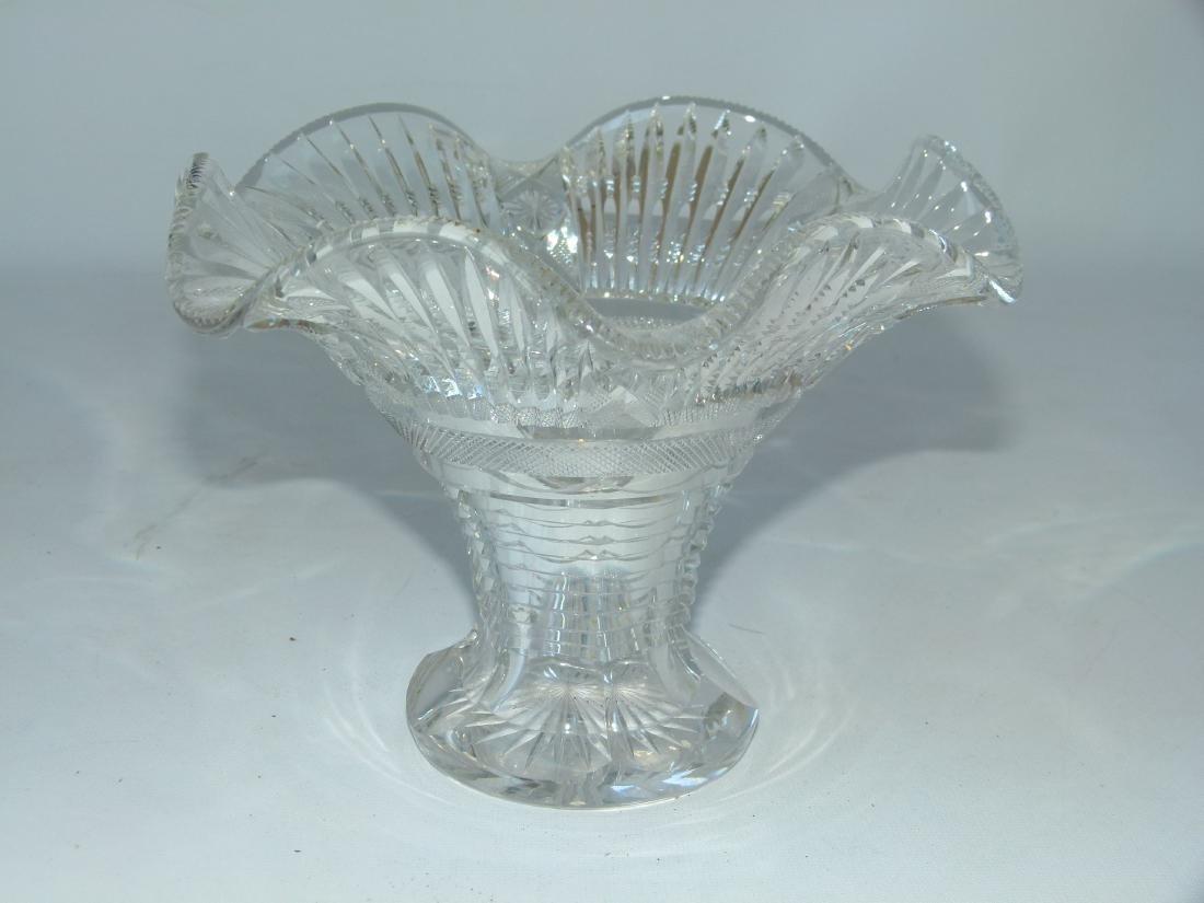 TUTHILL CUT GLASS TRUMPET VASE 19/20TH C.