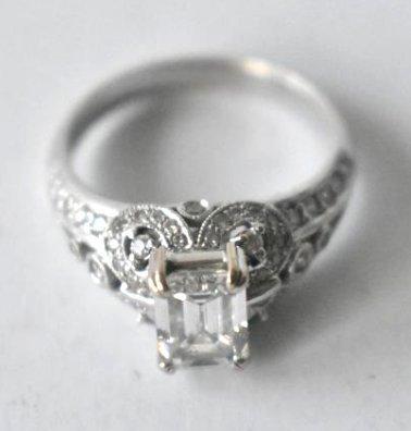 ART DECO 1.48ct. DIAMOND 14KT.FILIGREE ENGAGEMENT RING