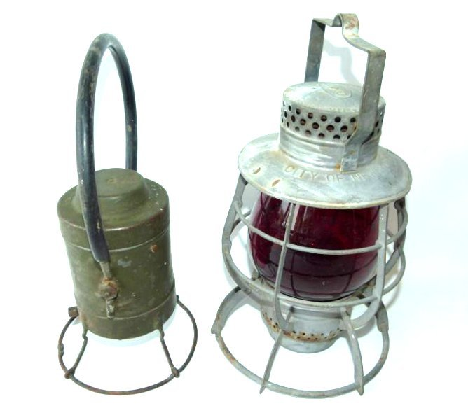 2 EARLY RAILROAD LANTERNS INCL. CITY OF NEW YORK