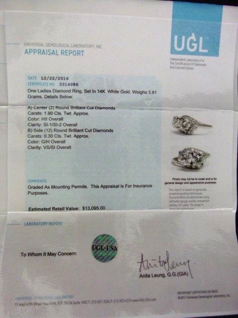 FINE 14 KT GOLD/1.9 CT. DIAMOND RING W/ UGL CERT. - 9