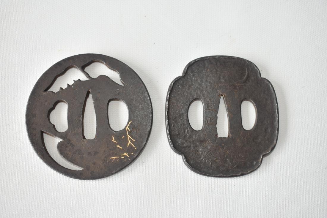 2 JAPANESE FORGED IRON TSUBA W/ MIXED METAL