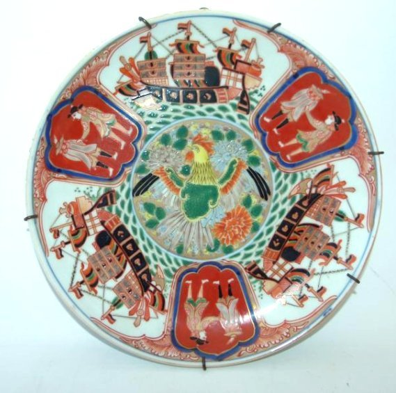 CHINESE EXPORT LOW BOWL W/ ROOSTER/SHIP DECO.