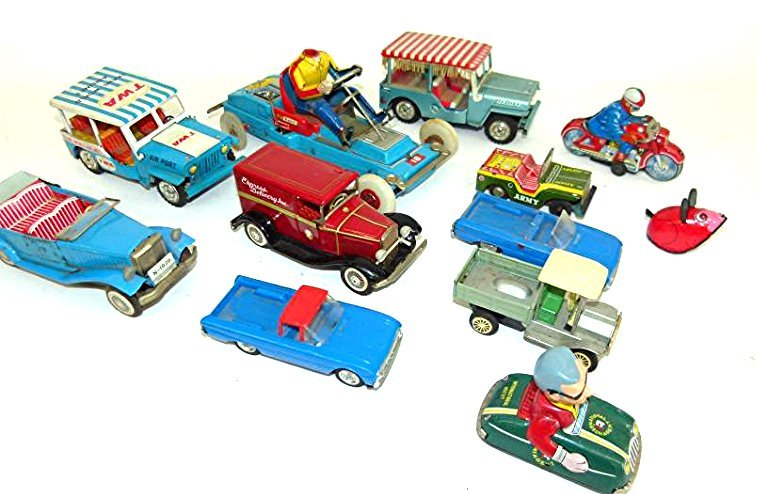 LOT ASSORTED TIN LITHO. FRICTION JEEPS/CARS, C. 1960