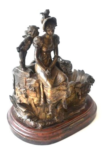 """FRENCH BRONZED MIXED METAL SCULPTURE """"REVERIE"""""""