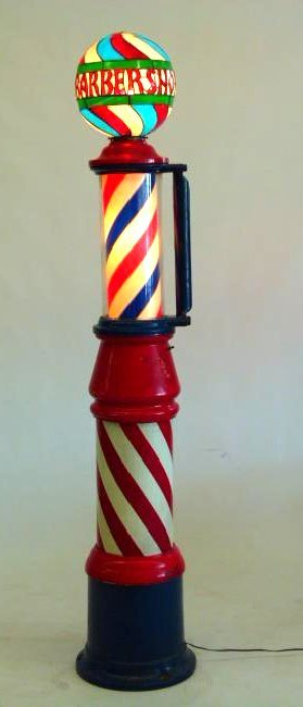 ROTATING BARBER POLE W/ PAINTED CAST IRON BASE