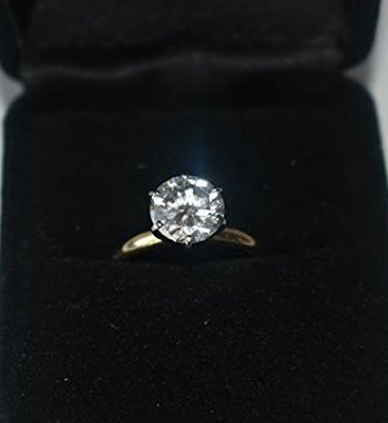 14KT YELLOW GOLD/DIAMOND SOLITAIRE RING, 2.19 CT.