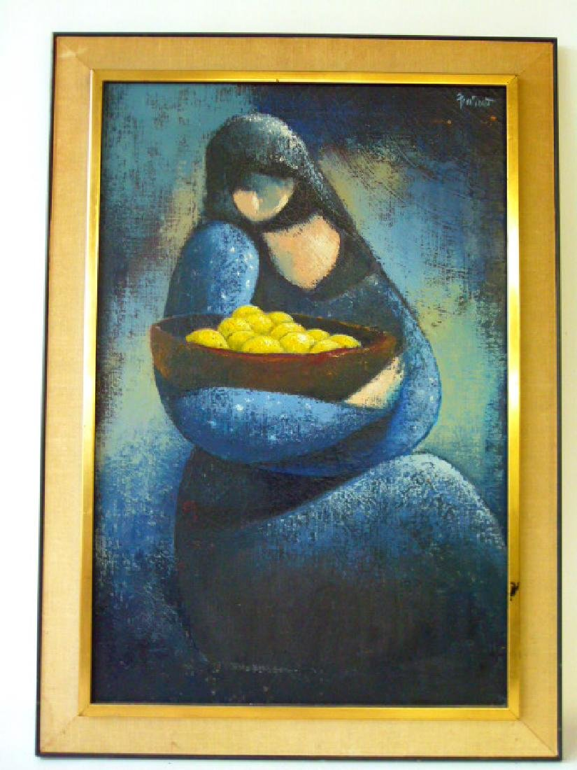 O/C MODERN ABSTRACT FIGURE W/ FRUIT SIGNED ILLEDG