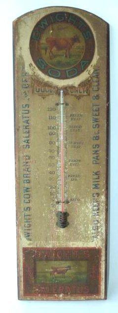 DWIGHT'S SODA ADV. WOOD THERMOMETER, C. 1880