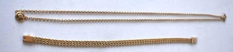 (2) DECO STYLE 14KT GOLD/DIAMOND NECKLACE/BRAC.