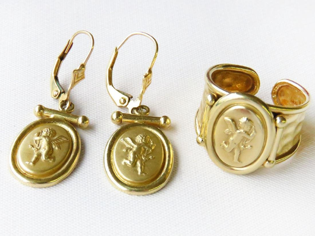 SET (3) 14 KT. YELLOW GOLD/EARRINGS/RING W/ CUPID