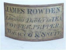 JAMES ROWDEN TEA & COFFEE PAINTED METAL SIGN 18thc.