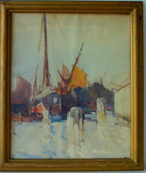 """W/C """"VENETIAN FREIGHTERS"""" SIGNED H.A. VINCENT"""