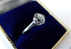 PLATINUM DIAMOND RING OLD MINE CUT C 1920