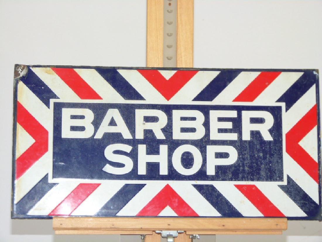 """VINTAGE PORCELAIN""""BARBER SHOP"""" SIGN, C. 1920"""