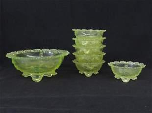 LOT (7) VASELINE PATTERN GLASS BERRY SET C. 1900