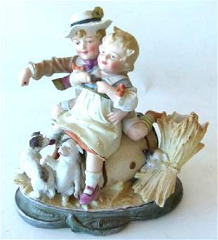 GERMAN BISQUE FIGURAL GROUPING, 19TH C.