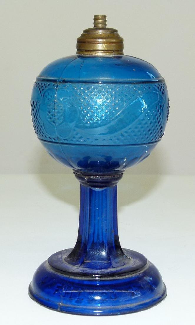EARLY COBALT PATTERN GLASS KEROSENE LAMP 19TH C.