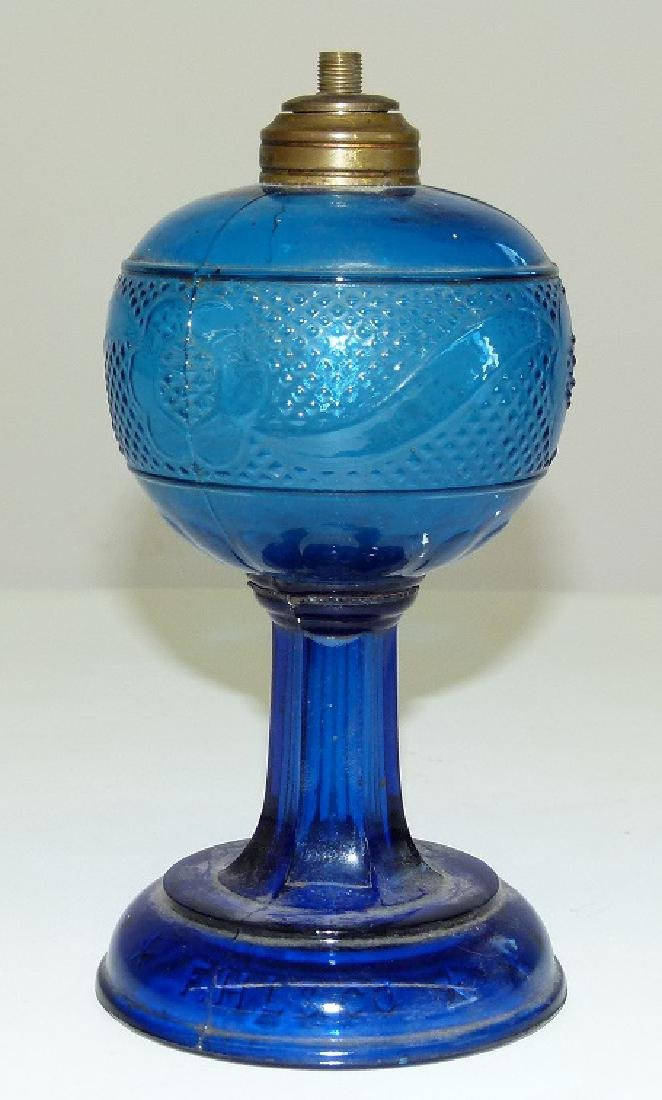 EARLY COBALT PATTERN GLASS KEROSENE LAMP 19TH C.