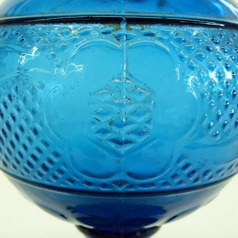 EARLY COBALT PATTERN GLASS KEROSENE LAMP 19TH C. - 3