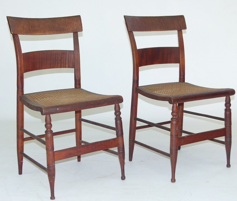 PAIR SHERATON TIGER MAPLE SIDE CHAIRS 19TH C.