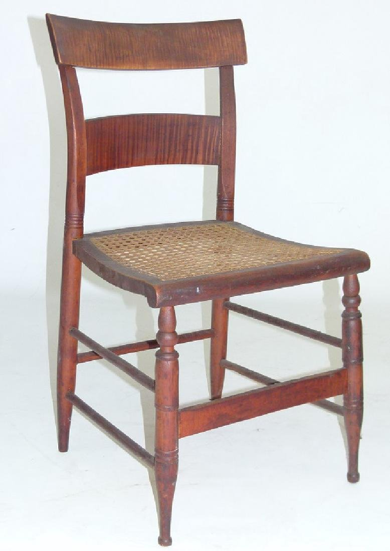 PAIR SHERATON TIGER MAPLE SIDE CHAIRS 19TH C. - 2