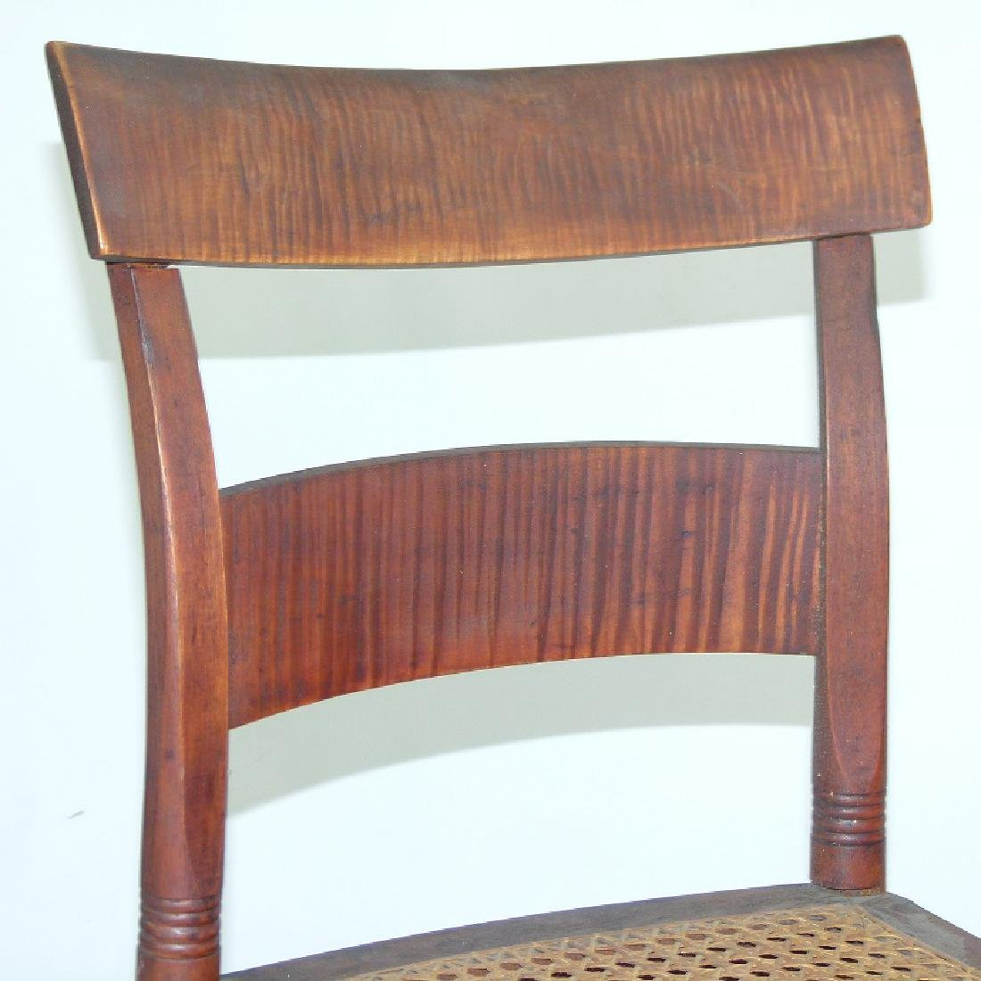 PAIR SHERATON TIGER MAPLE SIDE CHAIRS 19TH C. - 3