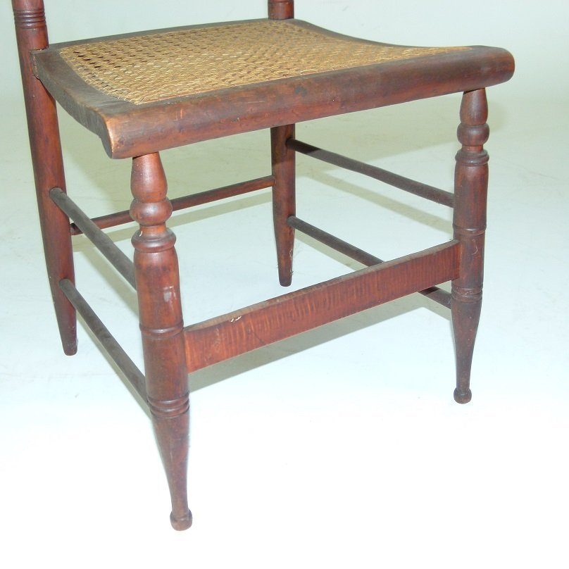 PAIR SHERATON TIGER MAPLE SIDE CHAIRS 19TH C. - 4