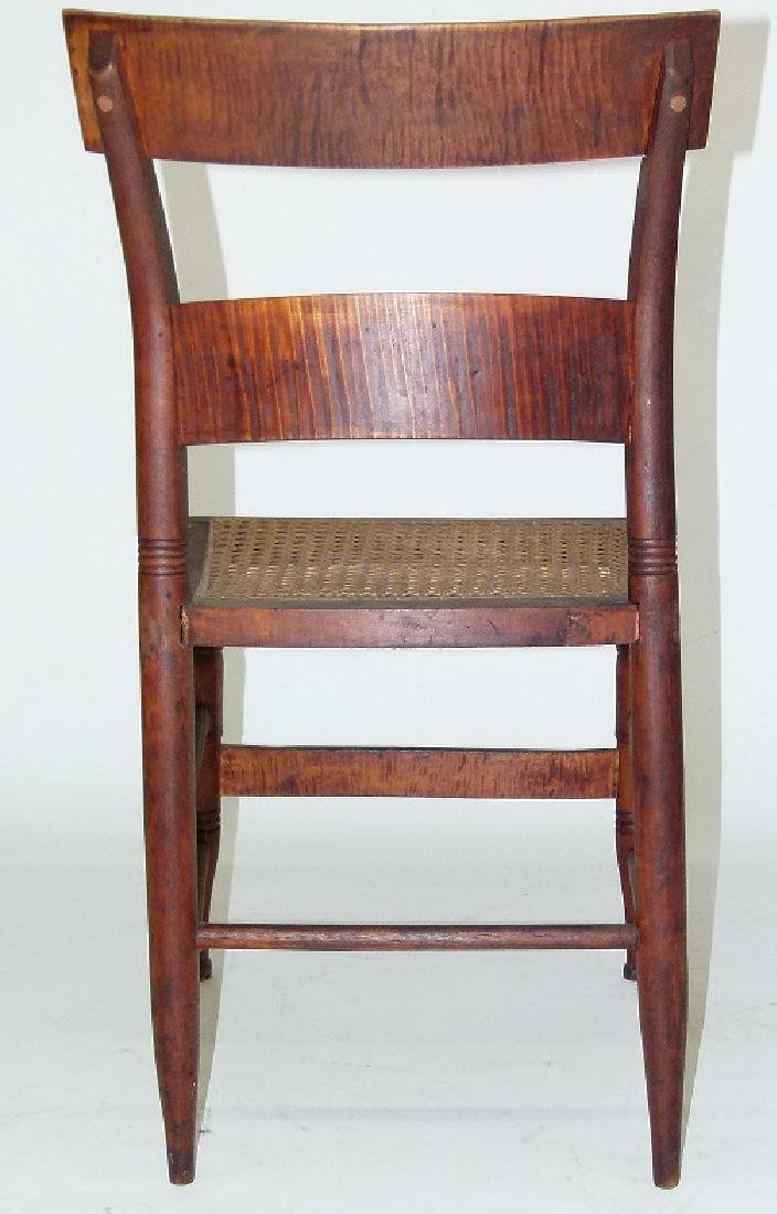PAIR SHERATON TIGER MAPLE SIDE CHAIRS 19TH C. - 5