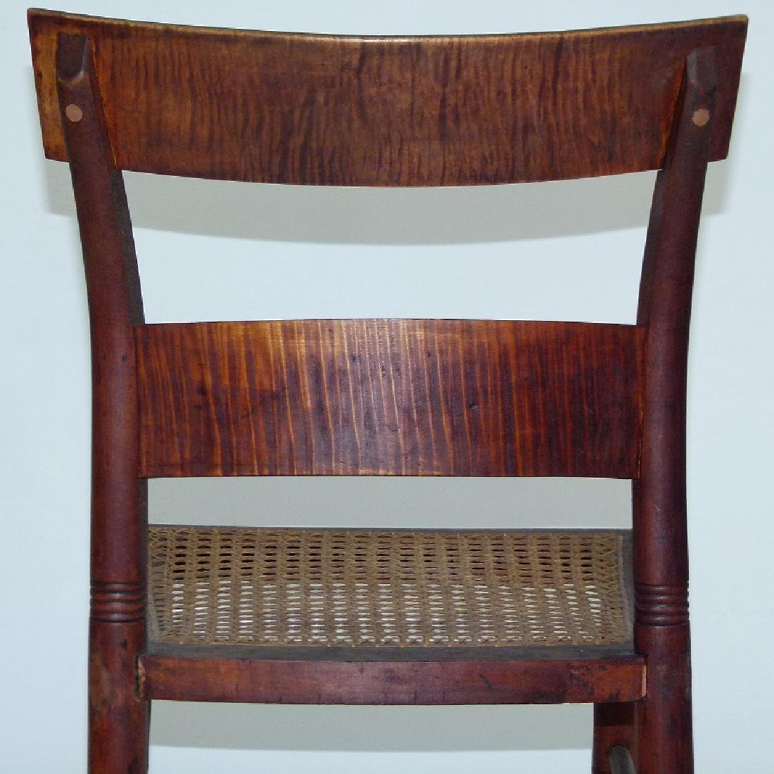 PAIR SHERATON TIGER MAPLE SIDE CHAIRS 19TH C. - 6