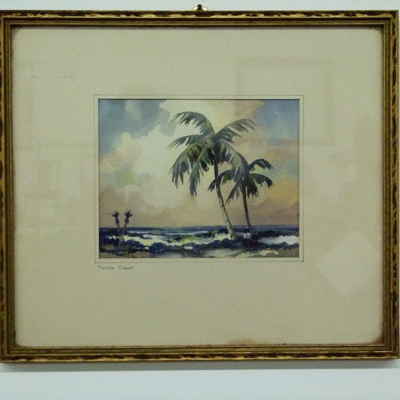 W/C FLORIDA COAST SIGNED JOHN C. HARE, 20TH C.