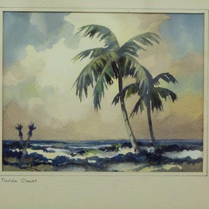W/C FLORIDA COAST SIGNED JOHN C. HARE, 20TH C. - 2