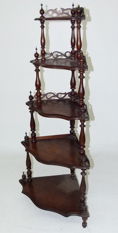 VICTORIAN WALNUT ETEGERE, 19TH C.