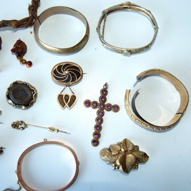 LOT ASSORT. VICTORIAN GOLD HAIR JEWELRY, 19/20TH C. - 2