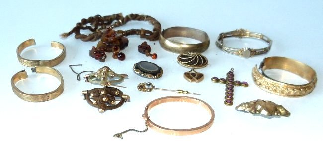 LOT ASSORT. VICTORIAN GOLD HAIR JEWELRY, 19/20TH C. - 4