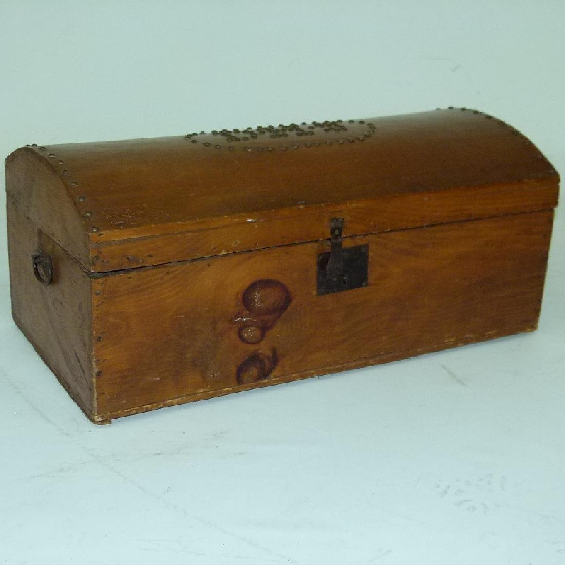 FOLK ART TACK DECORATED DOME TOP TRUNK 19TH C.