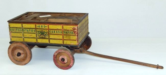EARLY US & CANADA EXPRESS TOY WAGON W/BLOCKS