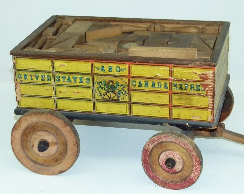 EARLY US & CANADA EXPRESS TOY WAGON W/BLOCKS - 2