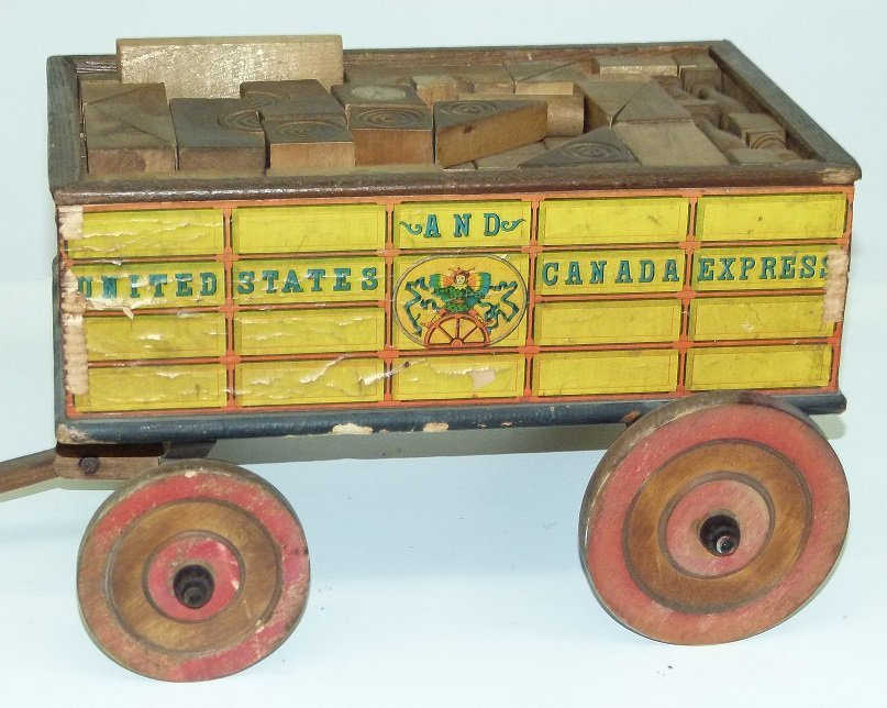 EARLY US & CANADA EXPRESS TOY WAGON W/BLOCKS - 5