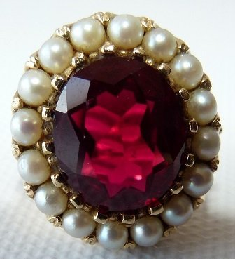 14KT YELLOW GOLD/SYN. RUBY/PEARL RING