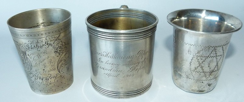 LOT (3) STERLING PRESENTATION CUP/MUGS, C. 1900
