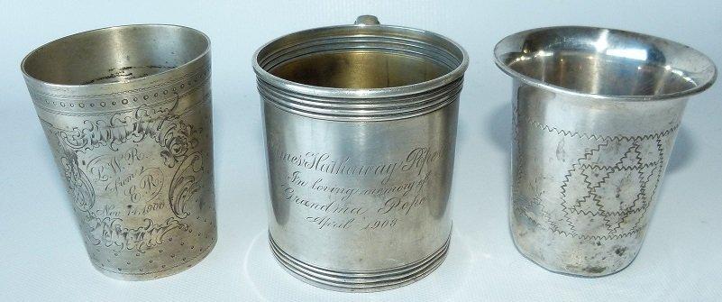 LOT (3) STERLING PRESENTATION CUP/MUGS, C. 1900