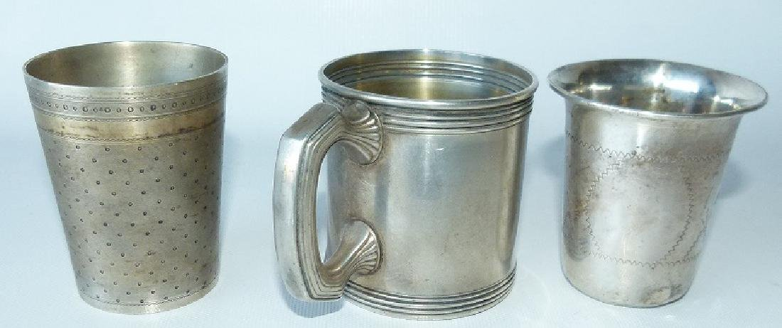LOT (3) STERLING PRESENTATION CUP/MUGS, C. 1900 - 2