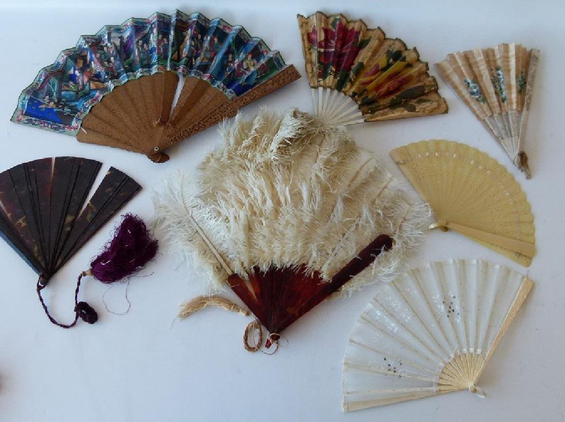 LOT (16) VICTORIAN FANS INCL. CHINESE, FRENCH, ENGLISH
