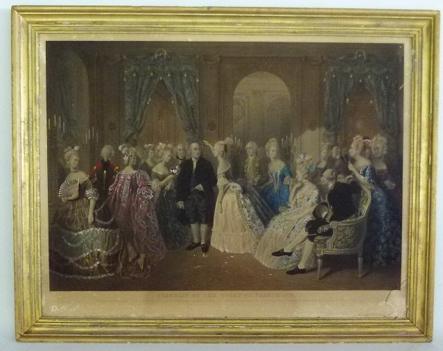 STEEL ENGRAVING BENJAMIN FRANKLIN AT THE COURT OF