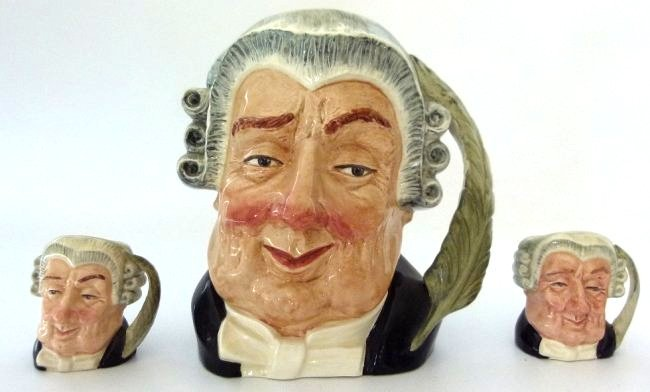 LOT (3) ROYAL DOULTON THE LAWYER TOBY MUGS, C. 1950'S