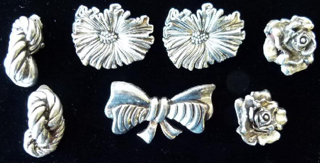 LOT ASSORTED STERLING PINS/EARRINGS/BROACHES, C. 1960 - 2
