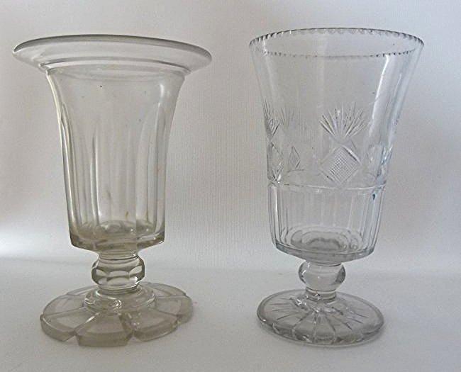 (2) LARGE FLINT GLASS CELERY W/ PINEAPPLE CUT